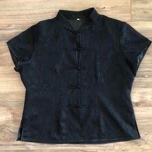Black silk top with tie closures